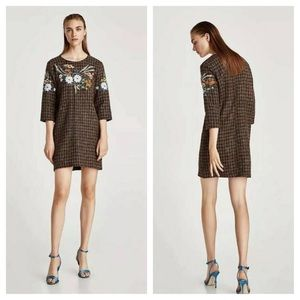Zara Embroidered Tweed Dress